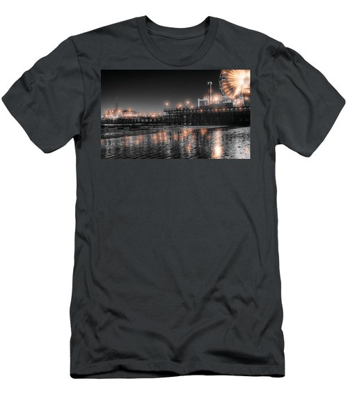 Men's T-Shirt (Athletic Fit) featuring the photograph Santa Monica Glow By Mike-hope by Michael Hope