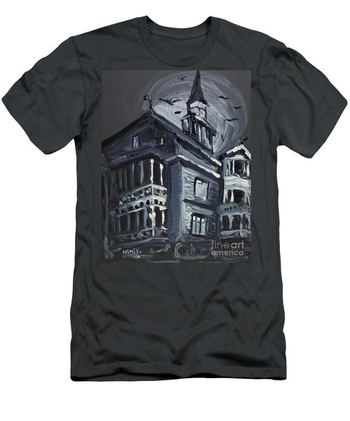 Men's T-Shirt (Athletic Fit) featuring the painting Scary Old House by Maria Langgle