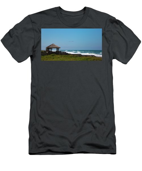 Men's T-Shirt (Athletic Fit) featuring the photograph Seaside Gazebo by Lora J Wilson