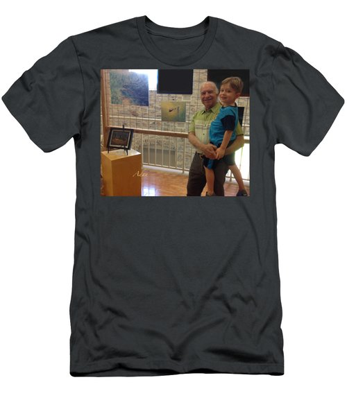 Self Portrait 14 - Viewing My Art With Max At Old Bakery Emporium Austin 2018 Men's T-Shirt (Athletic Fit)