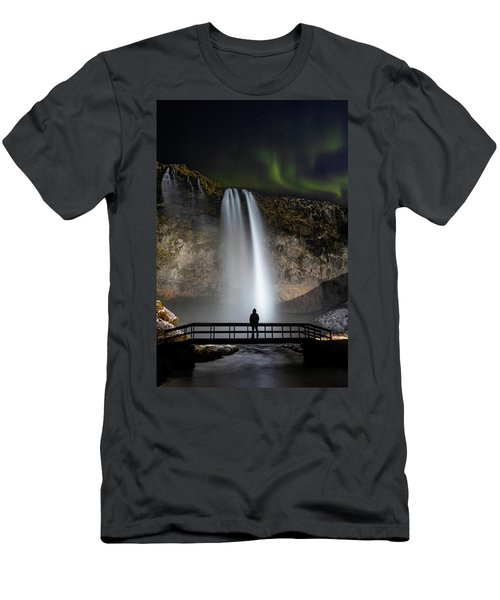 Seljalandsfoss Northern Lights Silhouette Men's T-Shirt (Athletic Fit)
