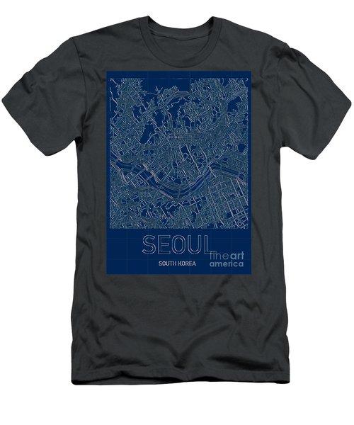 Seoul Blueprint City Map Men's T-Shirt (Athletic Fit)