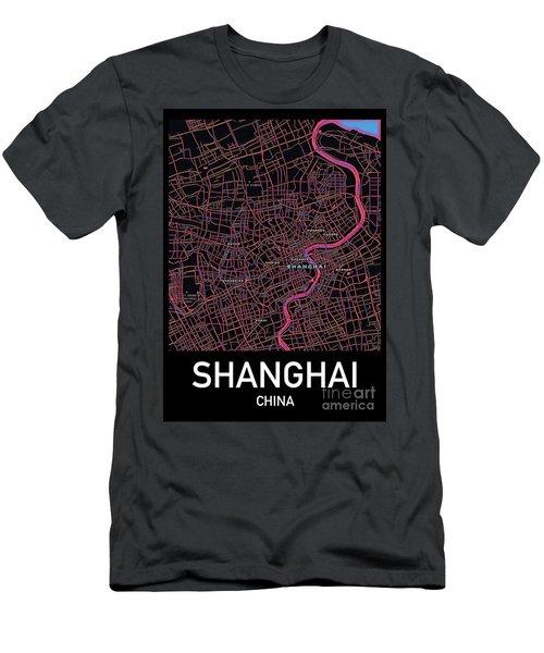 Shanghai City Map Men's T-Shirt (Athletic Fit)