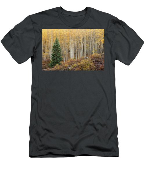 Men's T-Shirt (Athletic Fit) featuring the photograph Shimmering Aspens by Angela Moyer