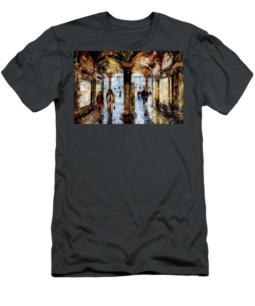 Shopping Area Of Saint Mark Square In Venice, Italy - Watercolor Effect Men's T-Shirt (Athletic Fit)