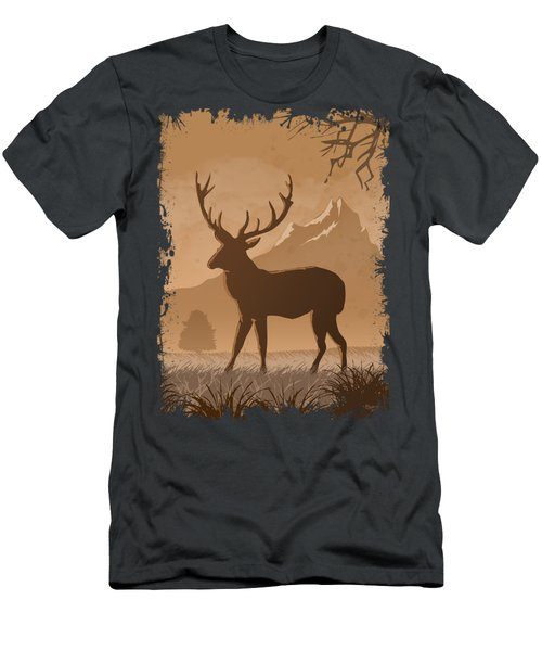 Silhouette Reindeer Men's T-Shirt (Athletic Fit)