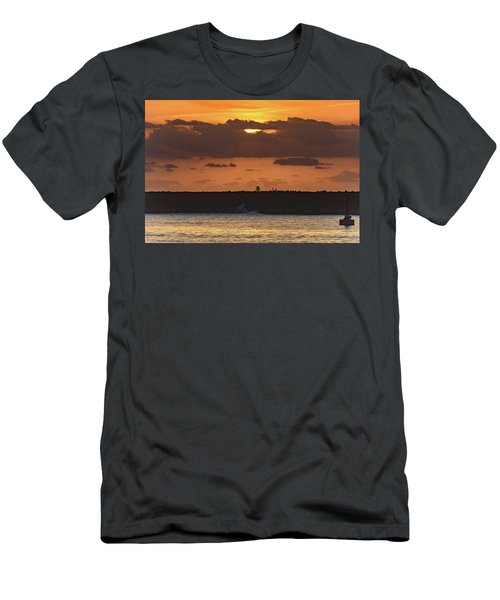 Silhouettes, Breakwall And Sunrise Seascape Men's T-Shirt (Athletic Fit)
