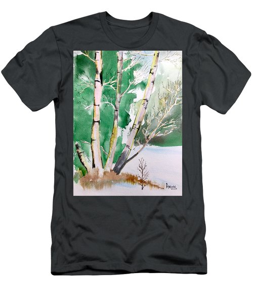 Silver Birch In Snow Men's T-Shirt (Athletic Fit)