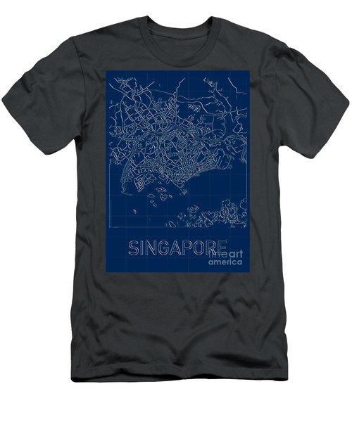 Singapore Blueprint City Map Men's T-Shirt (Athletic Fit)