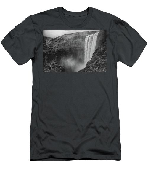 Skogafoss Iceland Black And White Men's T-Shirt (Athletic Fit)