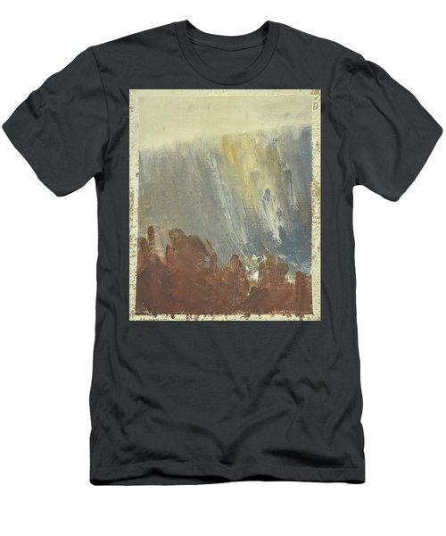 Skogklaedd Fjaellvaegg I Hoestdimma- Mountain Side In Autumn Mist, Saelen _1237, Up To 90x120 Cm Men's T-Shirt (Athletic Fit)