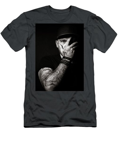 Skull Tattoo On Hand Covering Face Men's T-Shirt (Athletic Fit)