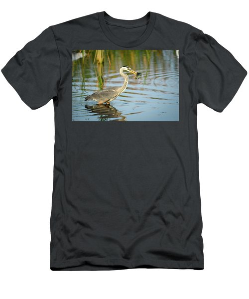 Snack Time For Blue Heron Men's T-Shirt (Athletic Fit)