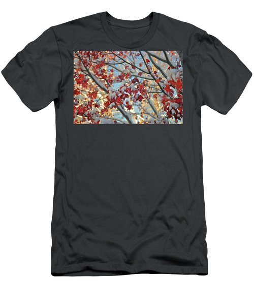 Snow On Maple Leaves Men's T-Shirt (Athletic Fit)