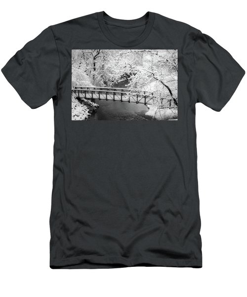 Men's T-Shirt (Athletic Fit) featuring the photograph Snowy Bridge On Mill Creek by Jeff Phillippi