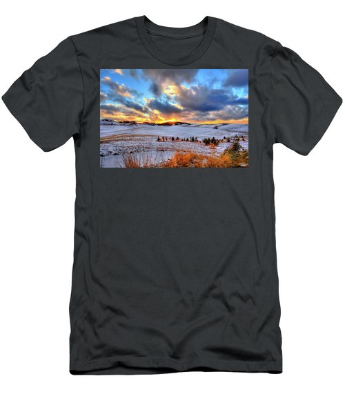 Men's T-Shirt (Athletic Fit) featuring the photograph Snowy Sunset by David Patterson