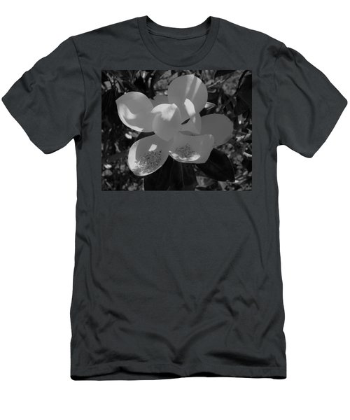 Southern Magnolia In Black And White Men's T-Shirt (Athletic Fit)