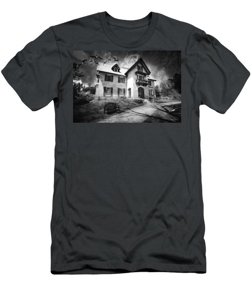Men's T-Shirt (Athletic Fit) featuring the photograph Spooky Mansion In Black And White by Trina Ansel