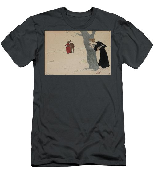 Men's T-Shirt (Athletic Fit) featuring the drawing Spying On Love Couples by Ivar Arosenius