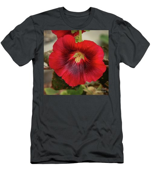 Square Red Hollyhock Men's T-Shirt (Athletic Fit)
