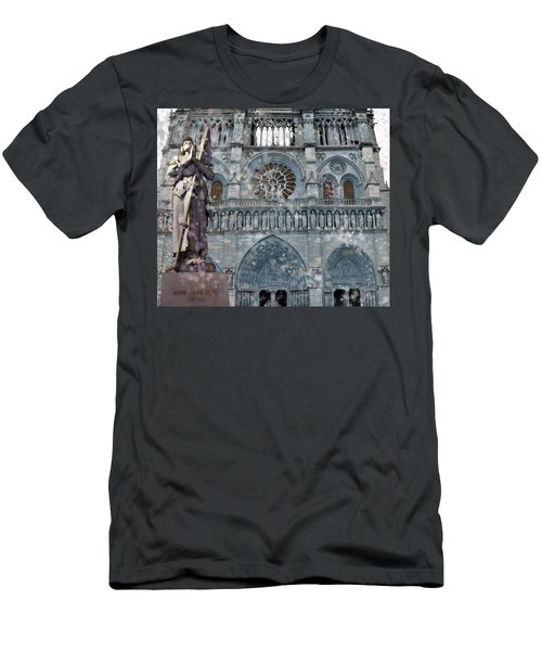 Men's T-Shirt (Athletic Fit) featuring the mixed media St Joan Of Arc Watch Over Notre Dame by Joan Stratton