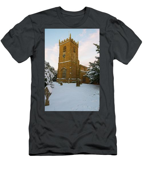 Stone Church In The Snow At Sunset Men's T-Shirt (Athletic Fit)