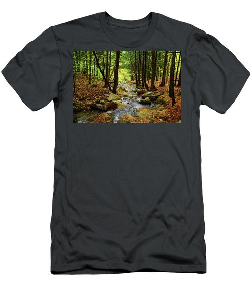 Men's T-Shirt (Athletic Fit) featuring the photograph Stream Rages Horizontal Format by Raymond Salani III