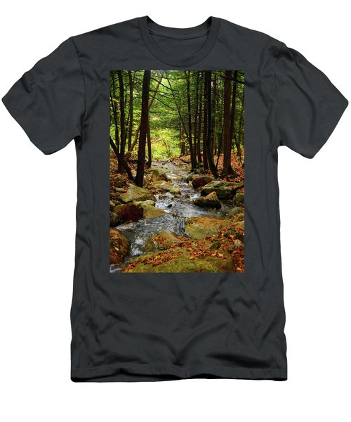 Men's T-Shirt (Athletic Fit) featuring the photograph Stream Rages Vertical Format by Raymond Salani III