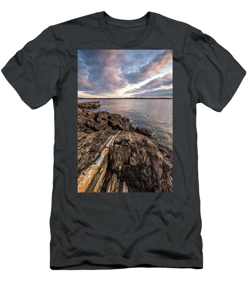 Striations. Leading Lines In The Rocks Men's T-Shirt (Athletic Fit)
