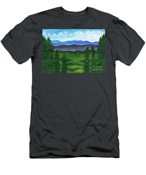 View From A Mountain Slope To Distant Mountains And Forests Men's T-Shirt (Athletic Fit)