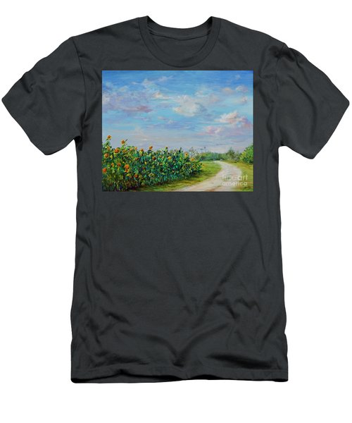 Sunflower Field Ptg Men's T-Shirt (Athletic Fit)