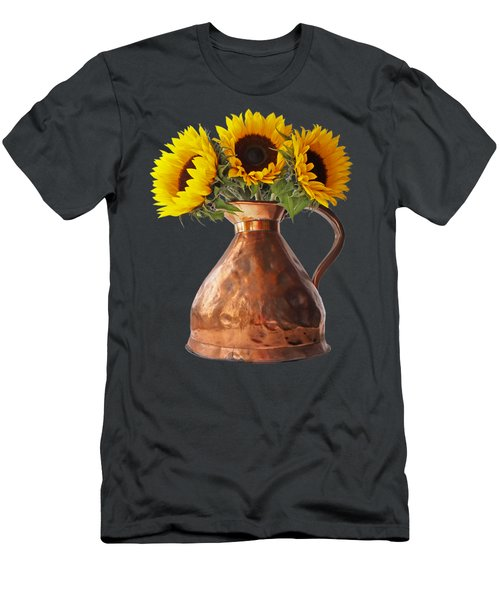 Sunflowers In Copper Pitcher On Black Men's T-Shirt (Athletic Fit)