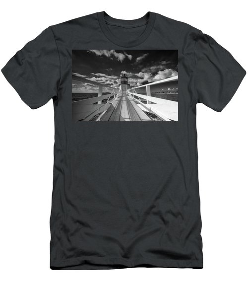 Men's T-Shirt (Athletic Fit) featuring the photograph Sunny Skies At Marshall Point In Black And White by Rick Berk
