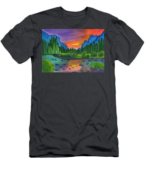 Mountain River In The Background Of The Forest And The Blue Mountains At Sunset Men's T-Shirt (Athletic Fit)