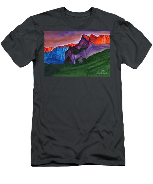 Snowy Peaks Of The Mountains With A Waterfall Lit Up By The Orange Dawn Men's T-Shirt (Athletic Fit)