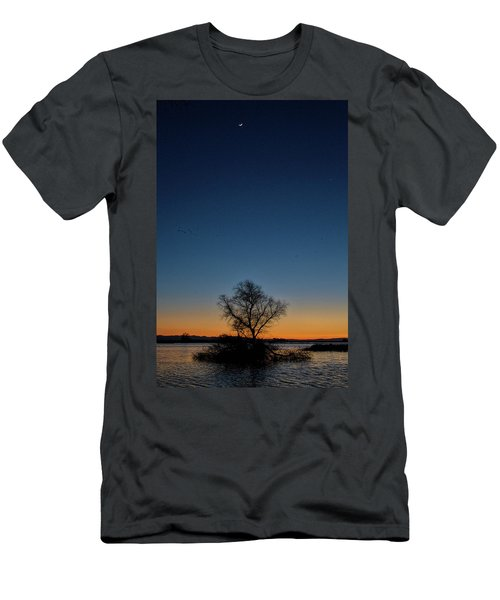 Sunset In The Refuge With Moon Men's T-Shirt (Athletic Fit)