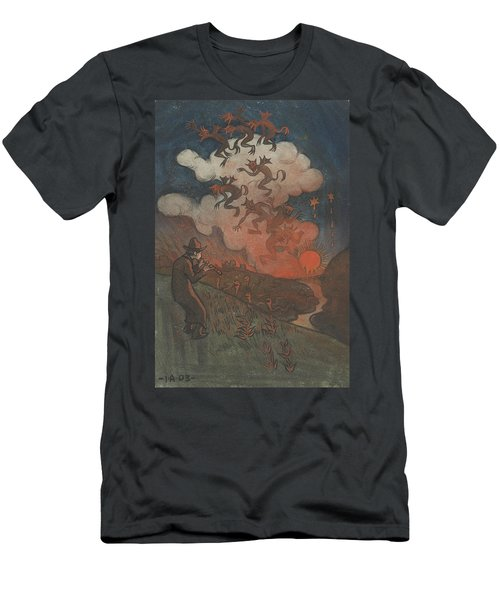 Men's T-Shirt (Athletic Fit) featuring the drawing Sunset by Ivar Arosenius