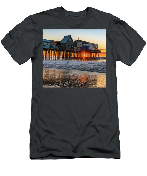 Men's T-Shirt (Athletic Fit) featuring the photograph Sunstar At Pier Patio Old Orchard Beach by Dan Sproul