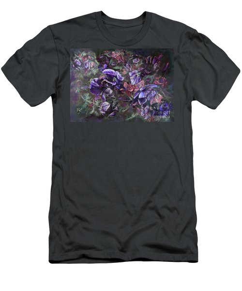 Men's T-Shirt (Athletic Fit) featuring the painting Sweet Peas In The Artist's Garden By Evening. by Ryn Shell