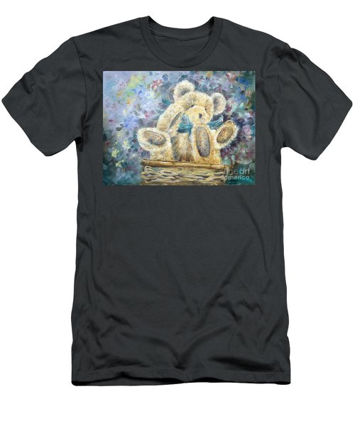 Men's T-Shirt (Athletic Fit) featuring the painting Teddy Bear In Basket by Ryn Shell