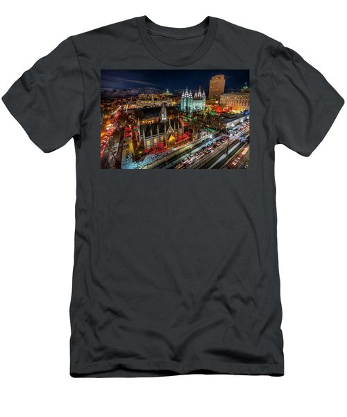 Temple Square Lights Men's T-Shirt (Athletic Fit)