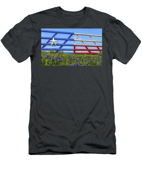 Texas Flag Painted Gate With Blue Bonnets Men's T-Shirt (Athletic Fit)