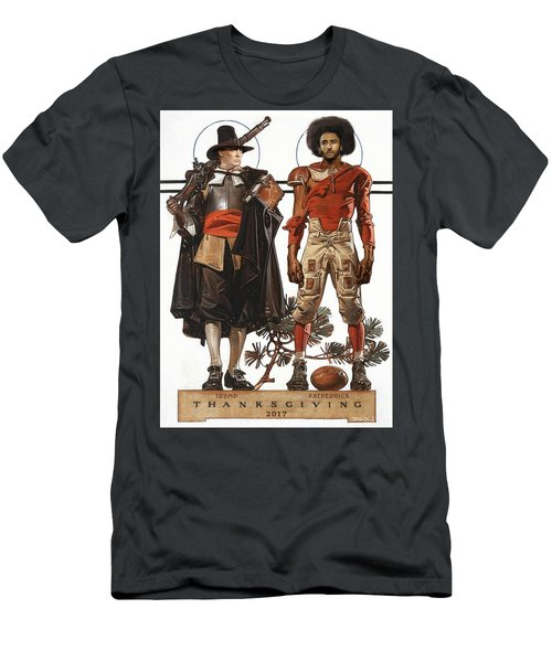 752370233 Thanksgiving With Trump And Colin Kaepernick Men s T-Shirt (Athletic Fit)