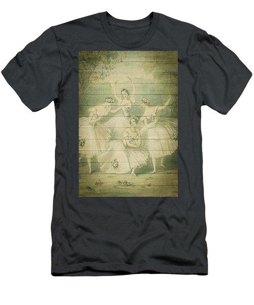The Ballet Dancers Shabby Chic Vintage Style Portrait Men's T-Shirt (Athletic Fit)