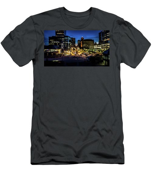 Men's T-Shirt (Athletic Fit) featuring the photograph The Calling At Blue Hour by Randy Scherkenbach