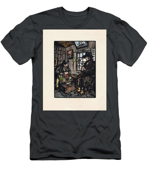 Men's T-Shirt (Athletic Fit) featuring the painting The Sales Man by Val Byrne