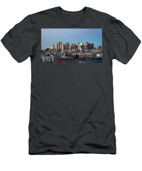 The Skyline Of Boston In Massachusetts, Usa On A Clear Winter Ev Men's T-Shirt (Athletic Fit)