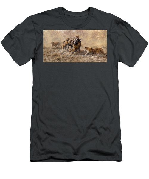 Men's T-Shirt (Athletic Fit) featuring the painting The Take Down - Lions Attacking Cape Buffalo by Alan M Hunt