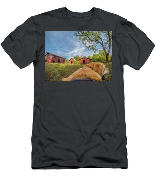 Men's T-Shirt (Athletic Fit) featuring the photograph Thornburg Barns By Photo Dog Jackson by Matthew Irvin