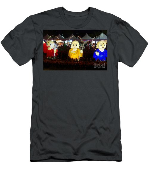 Men's T-Shirt (Athletic Fit) featuring the photograph Three Lanterns In The Shape Of Buddhist Monks by Yali Shi